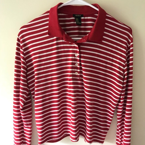 Forever 21 Tops - Red and white striped sweater, cropped (size M)